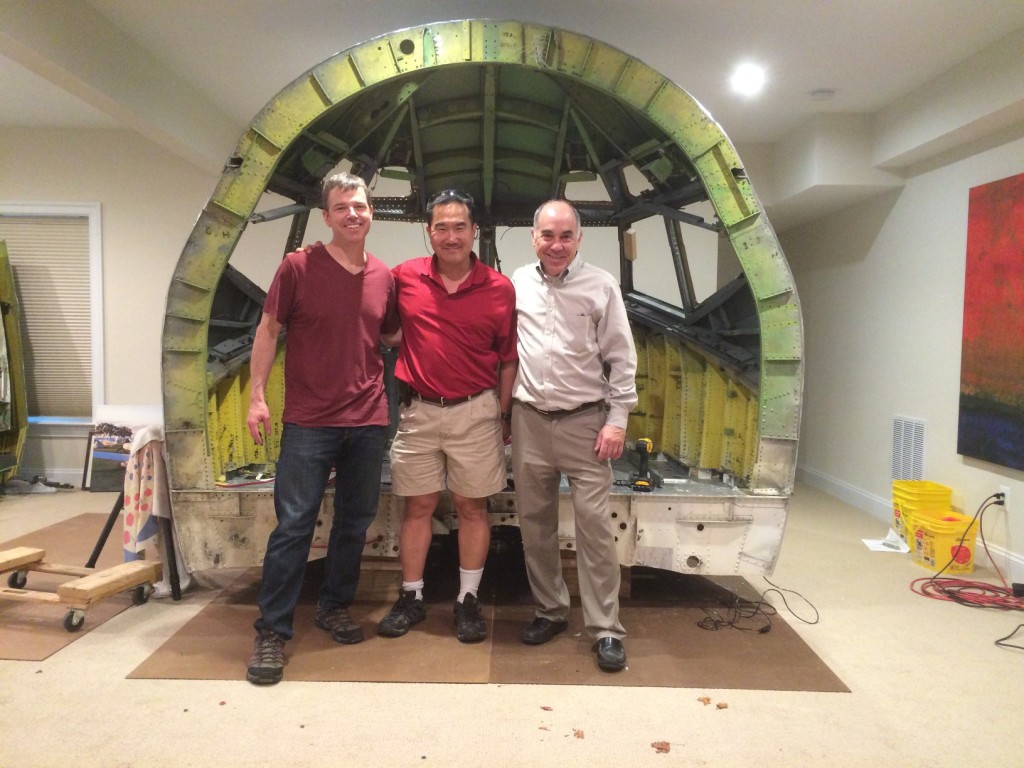Left to right: Peter Wu, Elmer Choi and Andy Schwartz. Just after hoisting the top onto the sides.