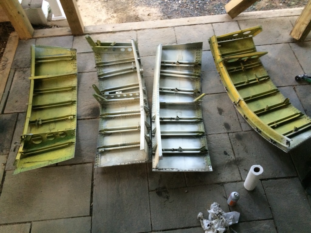 Side and top sections of the aft portion of the outer shell ready for assembly.