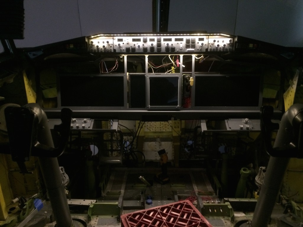 Test of under glare shield lighting after installation of MCP and dual EFIS units.